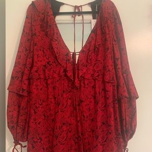 Zara Open Back Red Floral Long Sleeve Dress Large